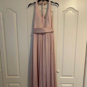 Vera Wang Size 4 Blush Vneck halter gown with sash